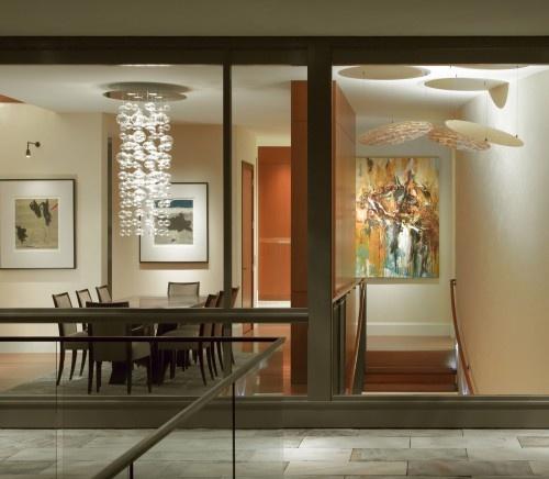 Chandelier and hanging artwork the talented team of sutton suzuki architect anna kondolf lighting designer cynthia wright interior designer came together