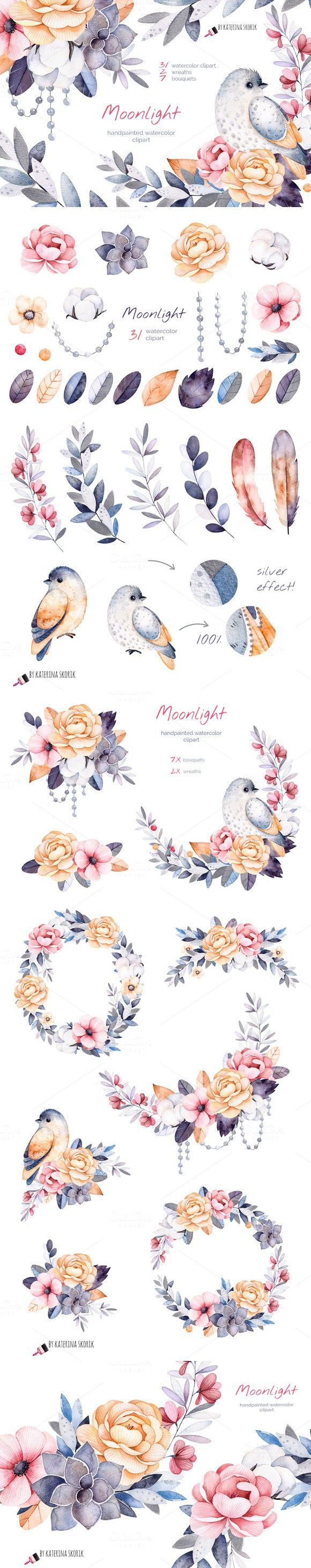 Moonlight. Watercolor collection. Watercolor Flowers. $15.00