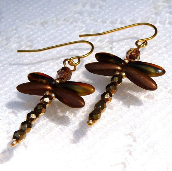 Dragonfly Earrings, Brown, Gold, Copper, Amber, Yellow, Beaded Earrings, Handmade Jewelry, Autumn Fall, Dragon Fly, Dragonflies via Etsy