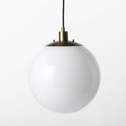 Globe Pendant - Antique Brass/Milk Finish | west elm