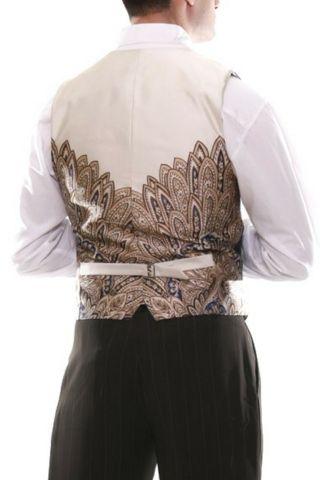 Men's brown tango vest with regular thin white stripes & beige satin back  #tangovest #menstangoclothes #argentinetango