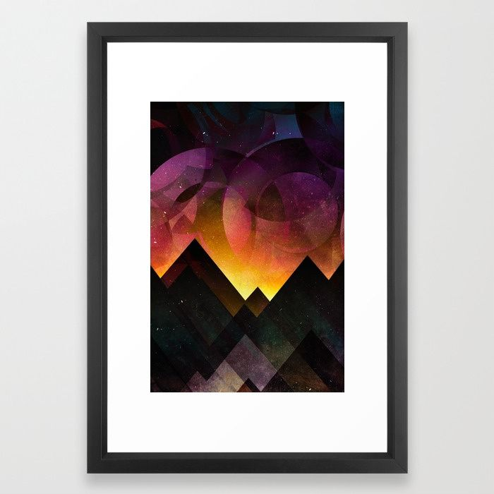 Whimsical mountain nights Framed Art Print by HappyMelvin | Society6