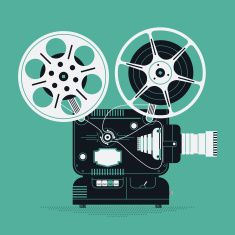 Cinema motion picture film projector vector art illustration