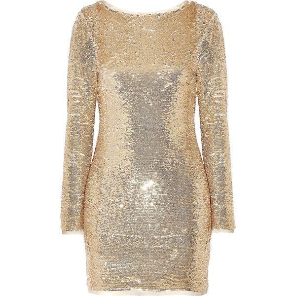 Rachel Zoe Racko open-back sequined cady mini dress ($495) via Polyvore featuring dresses, gold, mini dress, short sequin cocktail dresses, open back cocktail dress, embelished dress and open back short dresses