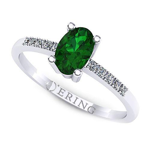 Inel logodna L101ASM inel cu diamante si smarald