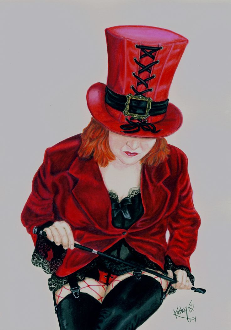 Painted portrait of Silke, from a costume she wore in a promo shoot with her band.