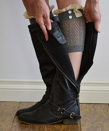 Gray & Ivory Chevron Lace Boot Cuff