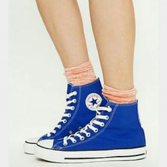 Royal blue Converse high tops These Converse high tops are in great condition worn a few time. They're Mens 7 womens 9. Converse Shoes Sneakers