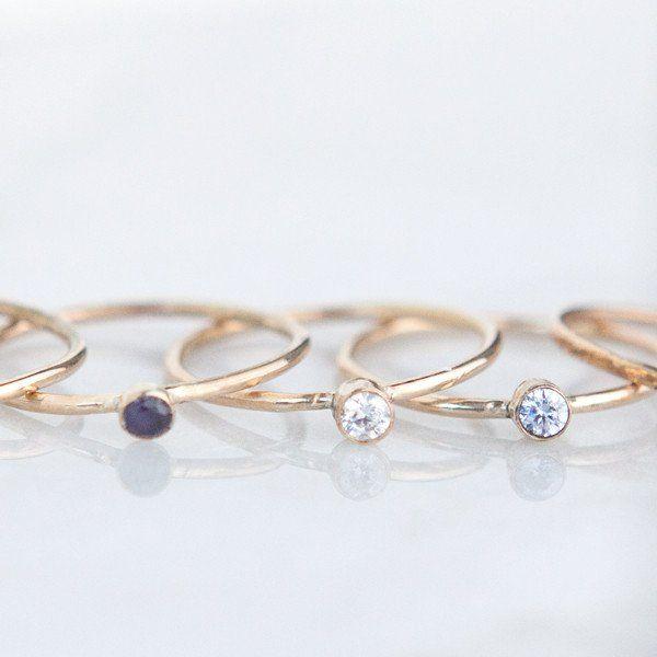 Gemstone Stacking Ring #Birthday #birthstone-jewelry #birthstone-rings