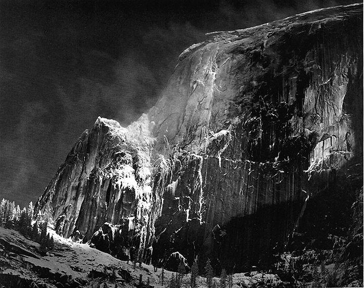 ansel adams - half dome, blowing snow, yosemite valley,  c. 1955.