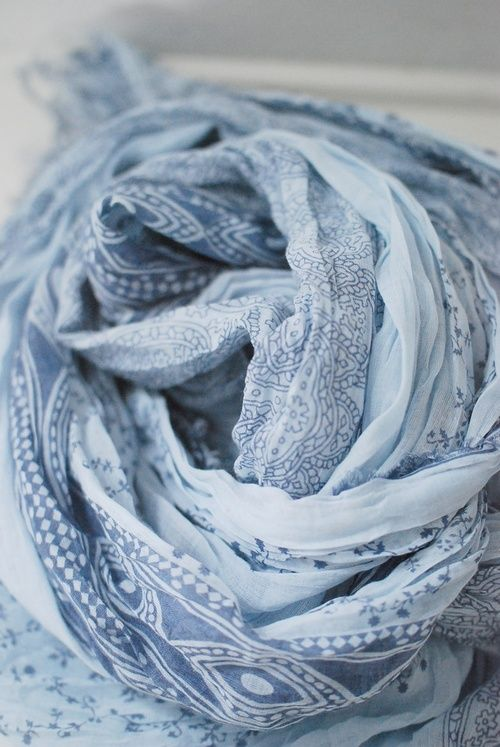 A Bohemian Life - Blue and white scarf