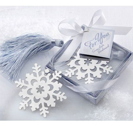 Snowflake Bookmark with Silver Finish - perfect for literary lovers. Available at TheWeddingOutlet.com
