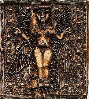 astarte goddess | Golden Plaque with fine granulation work of 4-Winged Goddess