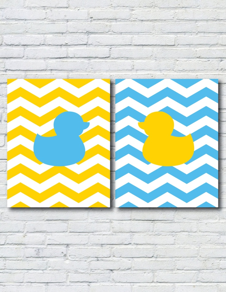 Opposites Attract Rubber Duck Prints in Blue by DigitalDesignsbyD, $12.95