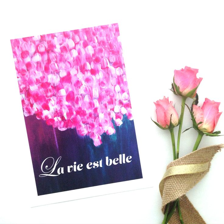 'La vie est belle' is French for Life is beautiful... It includes a section of the 'Passion' artwork from 'The Journey Collection' an original painting by Mel Boyd. It is an open edition print, A4 size and is printed on beautiful 200gsm museum quality cotton rag with pigment inks.