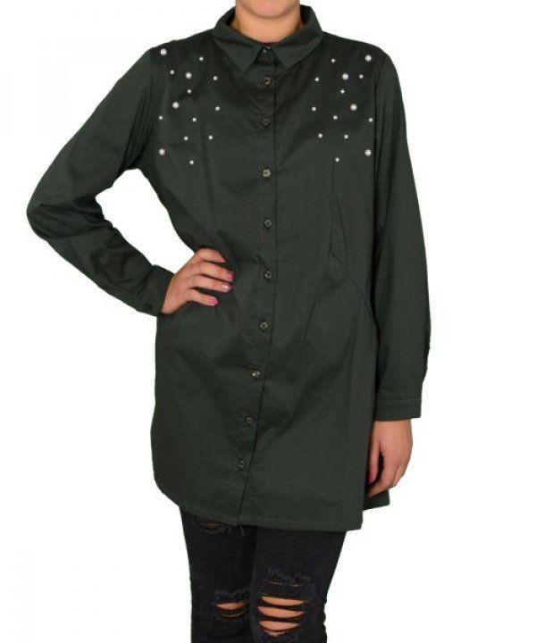 Γυναικεία Oversized πουκαμίσα Coocu χακί με πέρλες 25904F #γυναικείαπουκάμισα #ρούχα #στυλάτα #fashion #μόδα #γυναίκες #βραδυνά #μεταξωτά