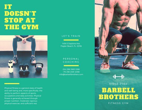 Yellow Black And White Modern Fitness TriFold Brochure  Gym