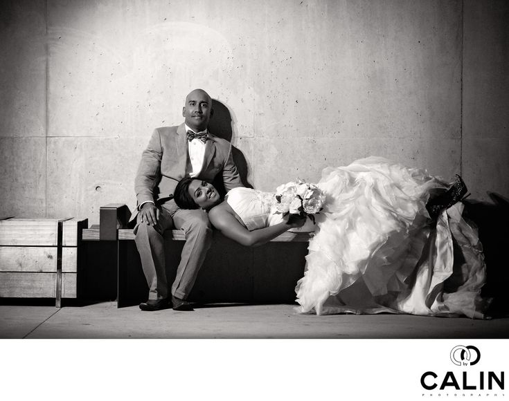 Photography by Calin - This image of the bride and groom is one that many couples mentioned they loved. It was taken in Downsview Park, North of Downtown Toronto.&nbsp,  In this image, the groom sits on the bench and the bride is laying on the bench with her head in his lap.&nbsp,  The photograph was lit with a flash placed left of the camera on a light stand.&nbsp,  To make the image timeless, I chose a black and white, almost vintage processing.&nbsp,  The shot was the last in a series of…