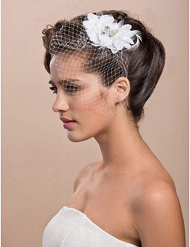 Gorgeous Tulle Wedding Bridal White Feather Rhinestone Headpiece - USD