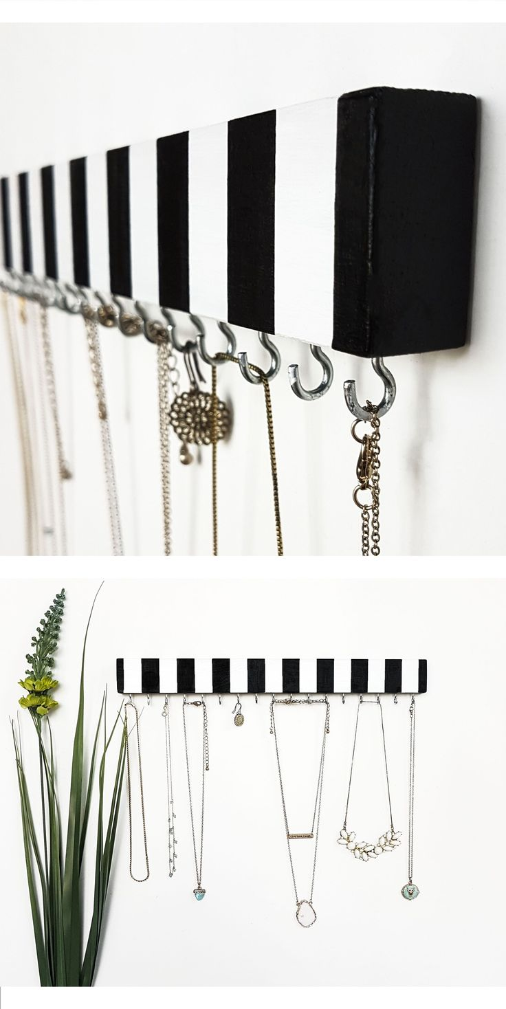 Necklace Holder - Necklace Organizer - black and white design, handmade item made of wood and acrylic. Also good for bracelets and earrings. Beautiful display of necklaces for your room :) #necklaceorganizer