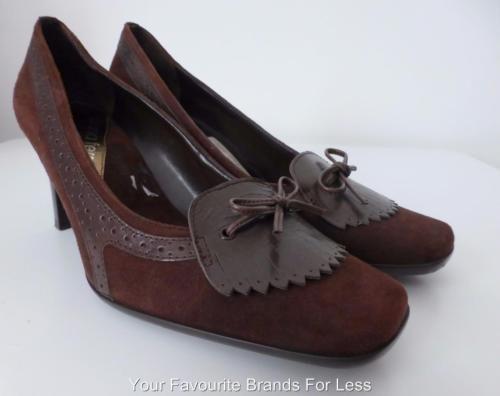 Diana-Ferrari-Size-7-Brown-Suede-Pumps-Shoes