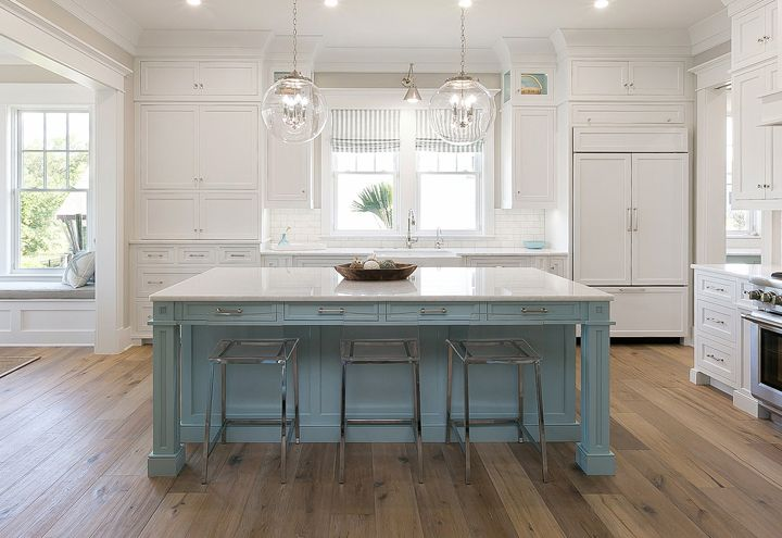 coastal kitchen with blue island | Mahshie Custom Homes