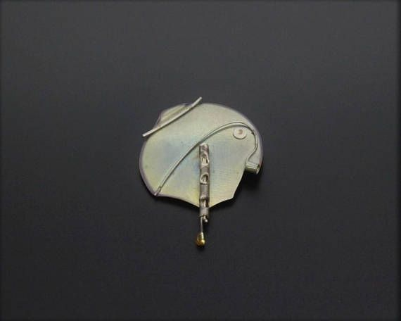 Modernist Vintage 1980s Abstract Brooch Pin Silver-Tone