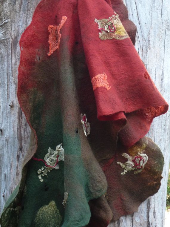 Cobweb felted shawl.Earth Fire and Olive. Women. by coolfelt