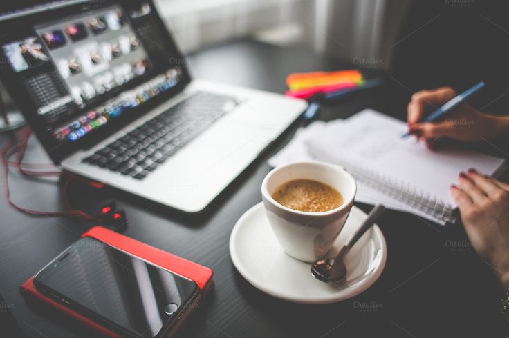 Cafe Time in Office by Viktor Hanacek on Creative Market