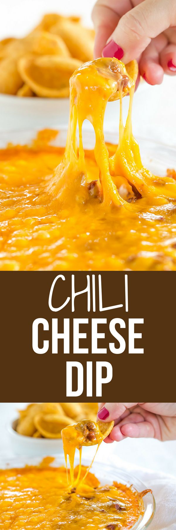 This Cheesy Chili Dip is incredibly easy and perfect for parties, cookouts or watching the game. Only THREE ingredients!!