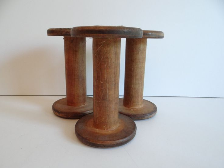 Three (3) Large Wooden Spool Lot - Machine Age Wood Spools  - 3 Spools - Industrial - Machine Age - Steampunk - Home Decor by SecondWindShop on Etsy