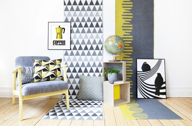 Lily Gul, pillow by Lina Johansson #nordicdesigncollective #linajohansson #pillow #yellow #interiordesign #graphic #print #chairs #rug #posters #globe