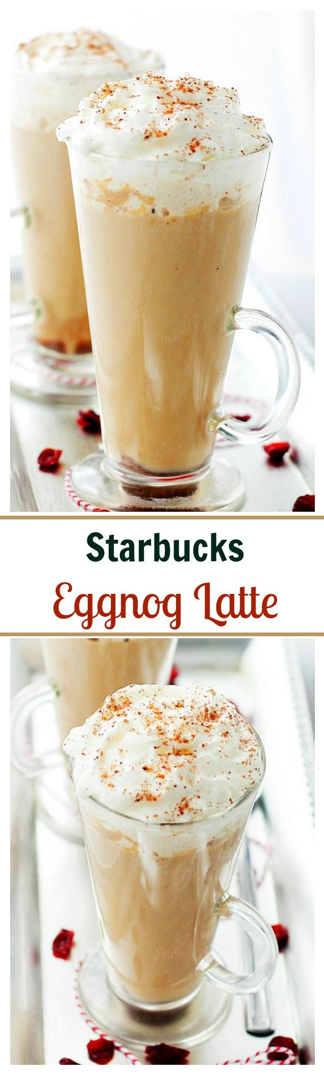 Starbucks Eggnog Latte – This festive, Starbucks-inspired latte is made with strong brewed espresso, steamed eggnog and milk. Brown sugar and nutmeg, too. Save yourself 5$ and make it at home – it's delicious!!