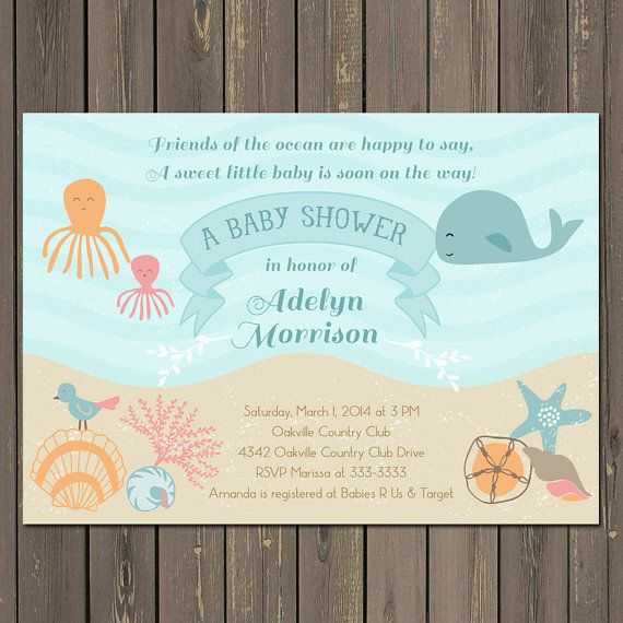 This pastel ocean baby shower invitation featuring a whale, octopus and shells is perfect for a gender neutral shower.   Please select the
