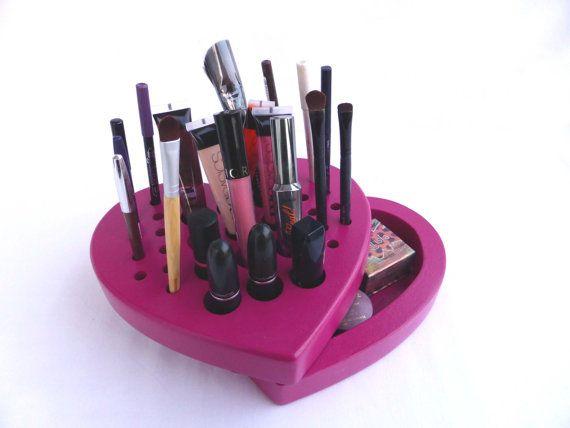 VALENTINE HEART - Pink Makeup organizer - storage - Makeup brush, lipstick, eye, lip pencil holder - wood - makeup case - fuchsia