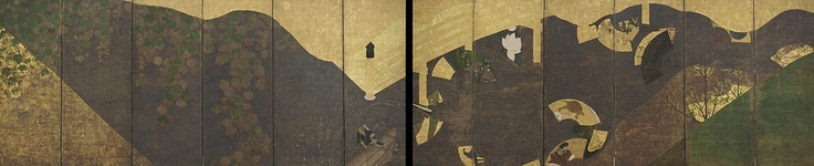 Freer Gallery (DC), Vines Bridges, and Floating Fans - Sotatsu - first half of 17th c