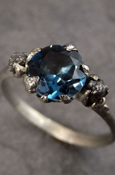 Raw Uncut Diamond London Blue Topaz White Gold Engagement Ring