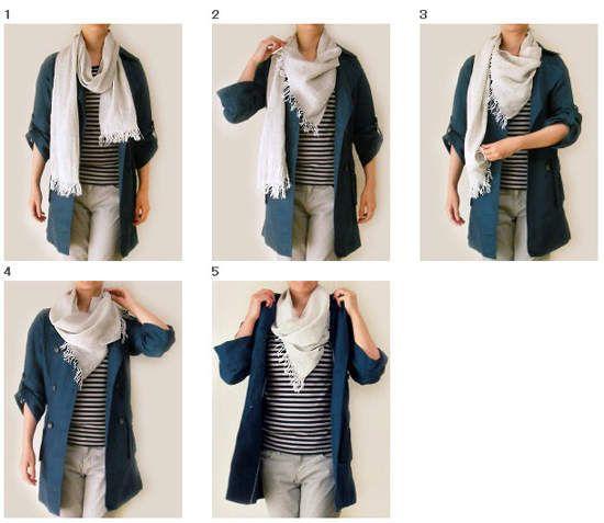 60 Ways to Tie a Scarf - コートにおすすめ ストールの巻き方 No.38 (アフガンストール風)