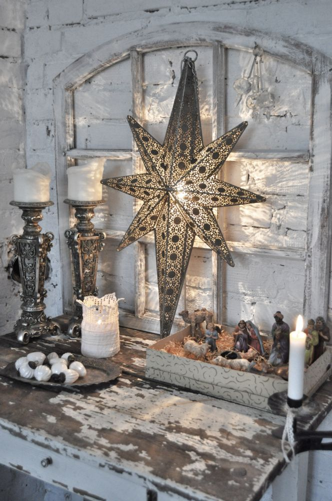 Christmas inspiration...this might be a great way to use all the stars and nativities I have...