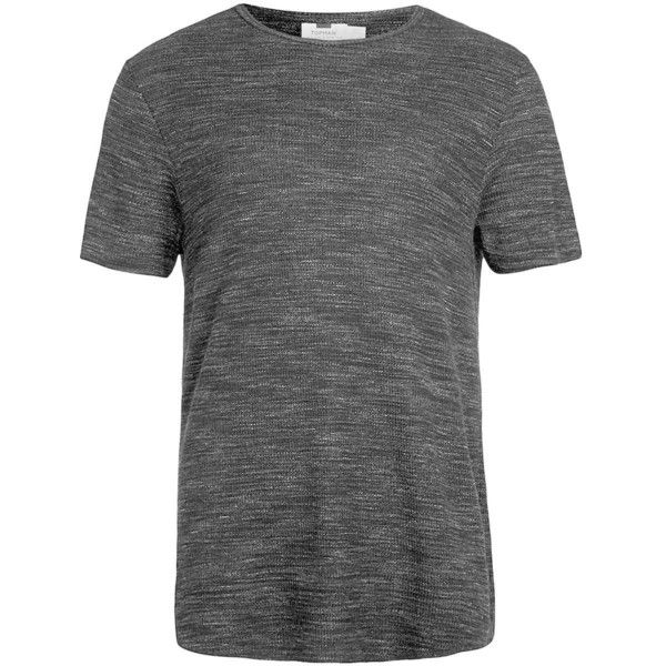 TOPMAN Black Waffle Crew Neck T-Shirt ($10) ❤ liked on Polyvore featuring men's fashion, men's clothing, men's shirts, men's t-shirts, black, mens slim fit t shirts, mens slim fit shirts, j crew mens shirts, mens waffle shirt and mens slim shirts