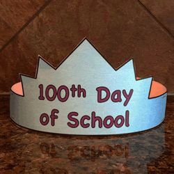 100th Day of School craft for kids - hat. Color, cut out, and staple
