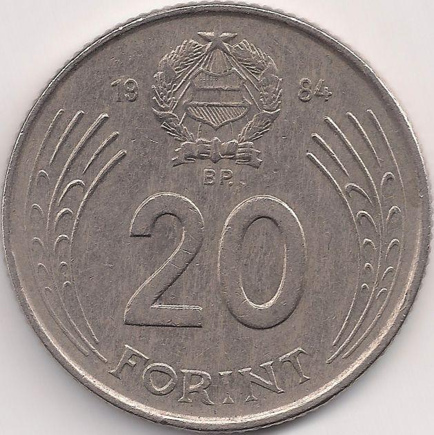 Wertseite: Münze-Europa-Mitteleuropa-Ungarn-Forint-20.00-1982-1989