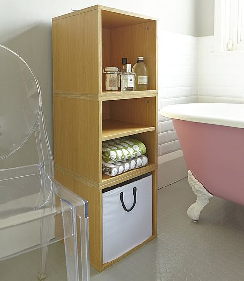 Set of 3 wooden modular cubes for the bathroom available in white and oak with a remova...