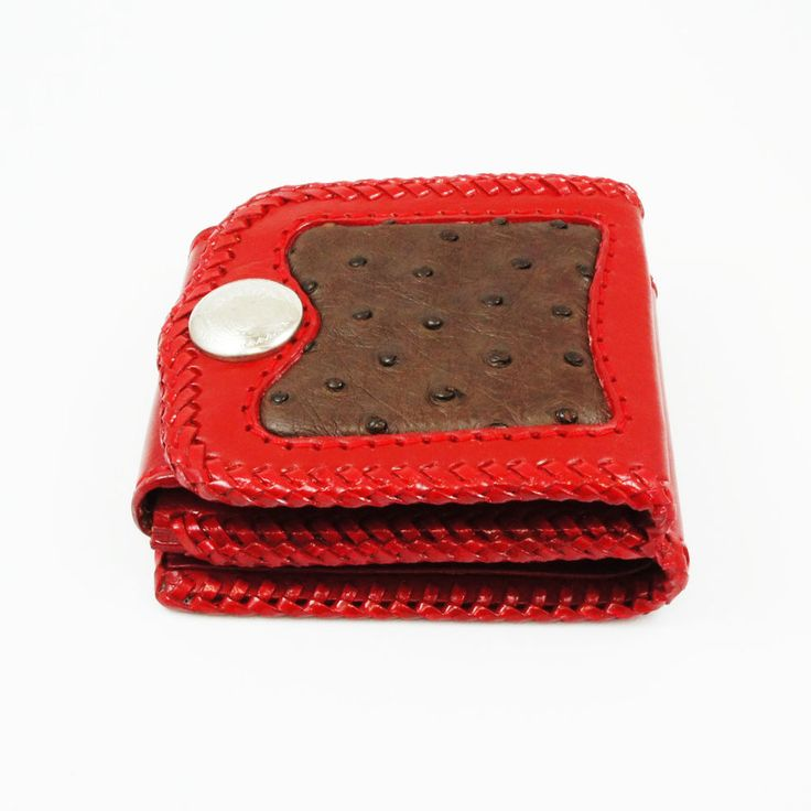 COW HIDE & OSTRICH LEATHER HANDCRAFTED BIFOLD WALLET hcsw-1br