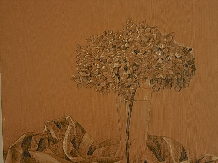 Hidrangea and mantle Charcoal and white gouache by Luis Vargas Saavedra