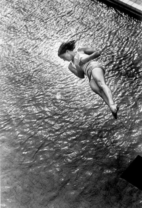 Pat McCormick diving at the 1952 Olympic Games in Helsinki, Finland    photo by Ralph Crane