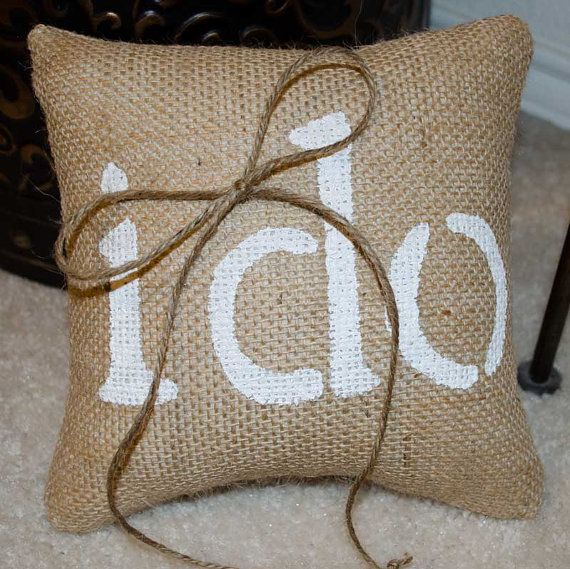 "Would want ""we do"" instead.  Burlap ring bearer pillow rustic country wedding by sherisewsweet, $20.00"