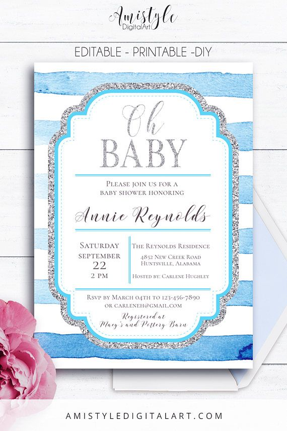 Baby Shower Stripes Invitation - with blue watercolor stripes and silver elements by Amistyle Digital Art in Etsy
