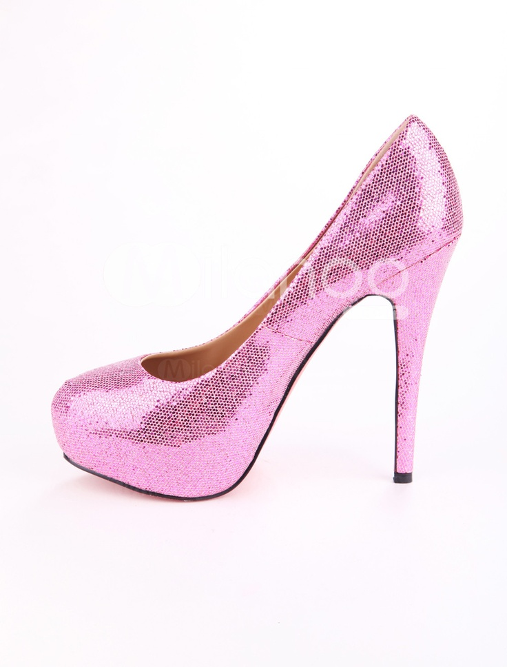 Sweet Fuchsia Sequined Cloth Red Bottom Heels - Milanoo.com | Shoe ...