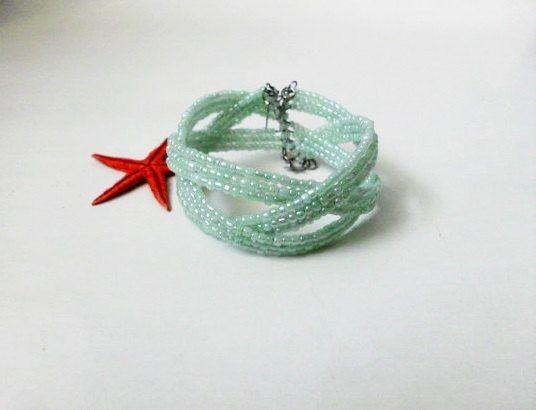 Geometric bracelet/Mint bracelet/Merry bracelet/summer bracelet/Cuff bracelet/Cheery bracelet on Etsy, 7,58€